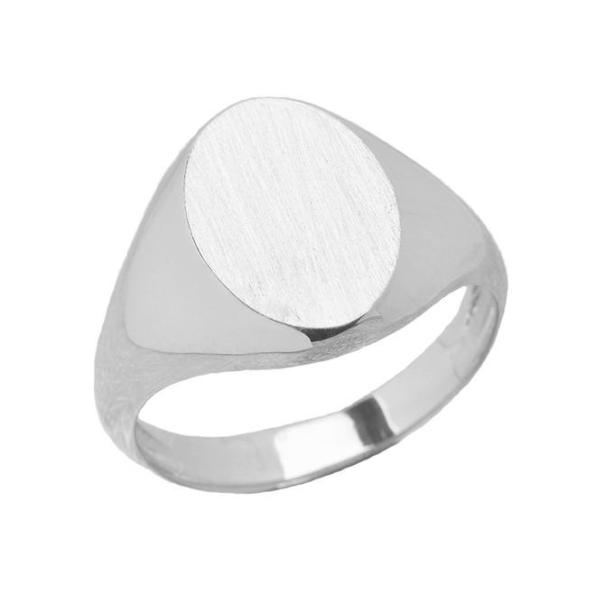 Men's Engravable Oval Signet Ring in White Gold