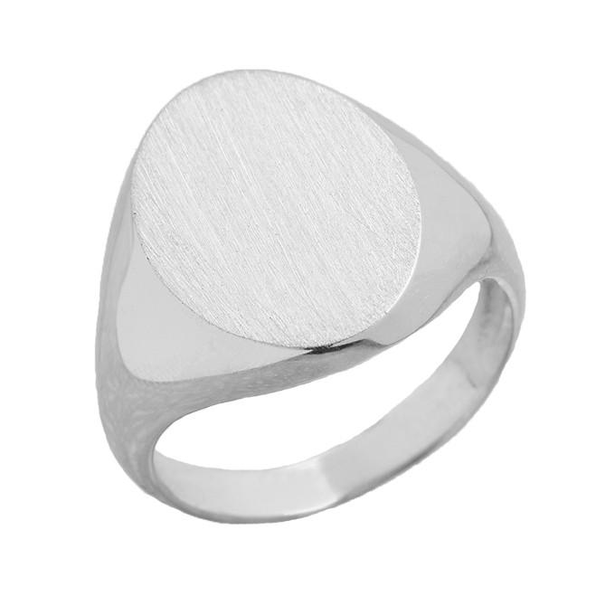 Men's Bold Engravable Oval Signet Ring in White Gold