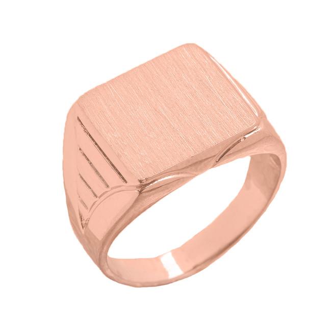 Copy of C Men's Engravable Oval Signet Ring in Rose Gold