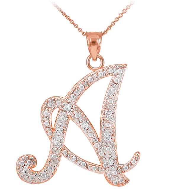 """14K Rose Gold Letter Script """"A-Z"""" Diamond Initial Pendant Necklace"""