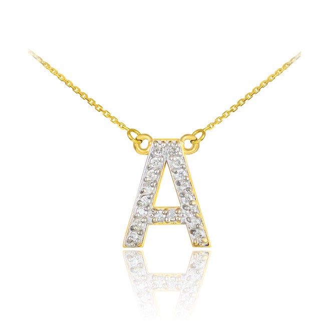 "14k Yellow Gold Letter ""A-Z"" Diamond Initial Monogram Necklace"