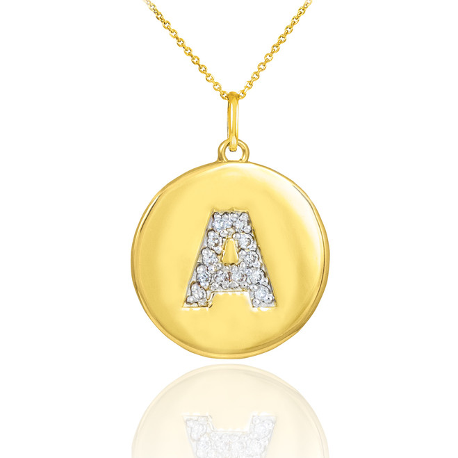 """Yellow Gold Letter """"A-Z"""" Initial Diamond Disc Pendant Necklace"""