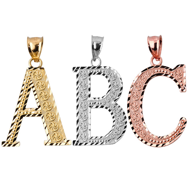 Roman Initial A-Z Charm Pendant (Available in Gold & Silver)