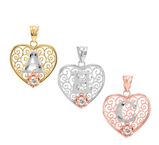 """Filigree Design Heart Roman Initial """"A-Z"""" CZ Pendant Necklace (Available in Gold & Silver)"""