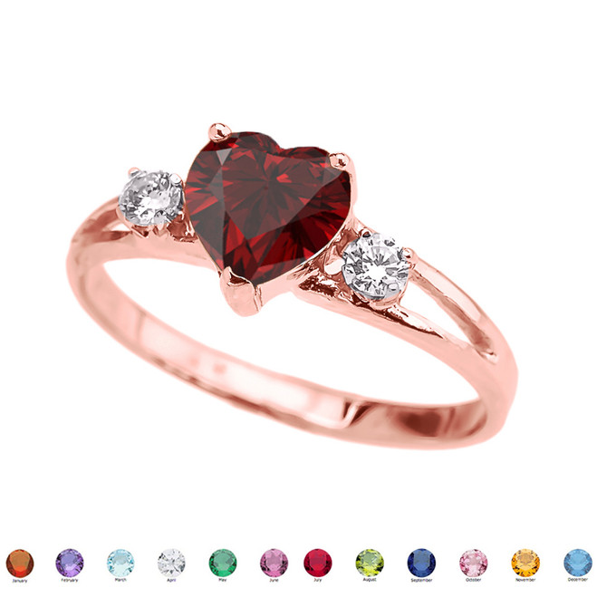 10k Rose Gold Birthstone Heart Proposal/Promise Ring  (12 Birthstones)