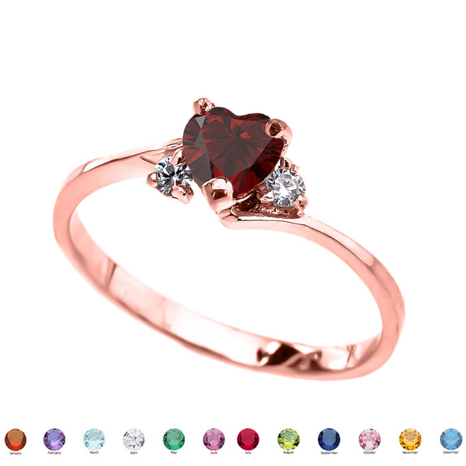 14K Rose Gold Birthstone and C.Z Heart Promise Ring  (12 Birthstones)