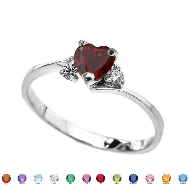 14K White Gold Birthstone and C.Z Heart Promise Ring  (12 Birthstones)
