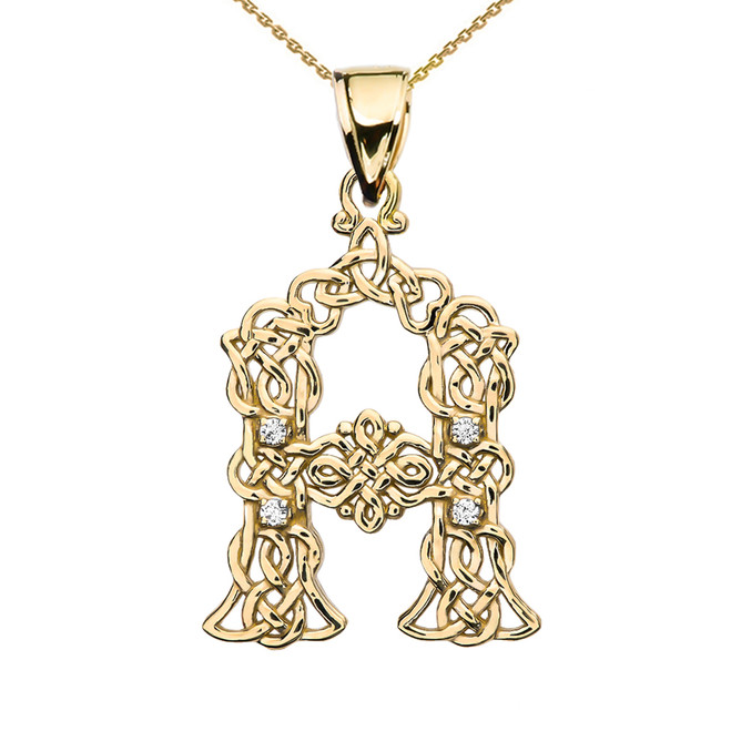Diamond Celtic Knot Initial (A-Z) Pendant Necklace in Rose Gold