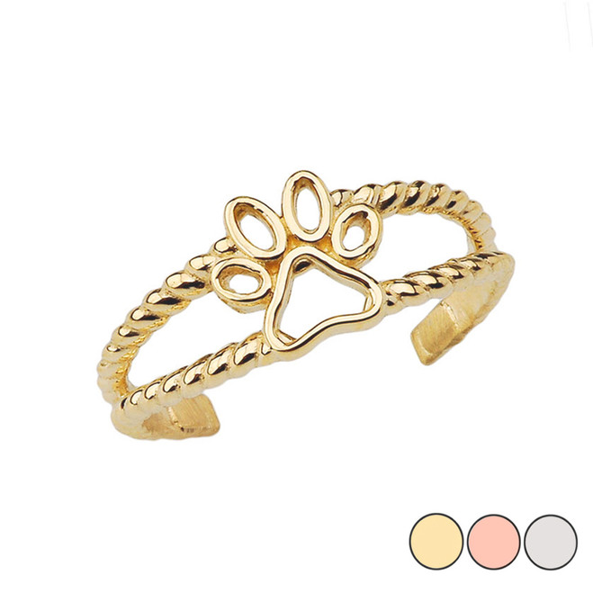 Dog Paw Rope Toe Ring in Gold (Yellow/Rose/White)