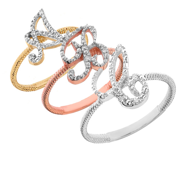 """Script Initial """"A-Z"""" Stackable Rope Ring (Available in Gold & Silver)"""