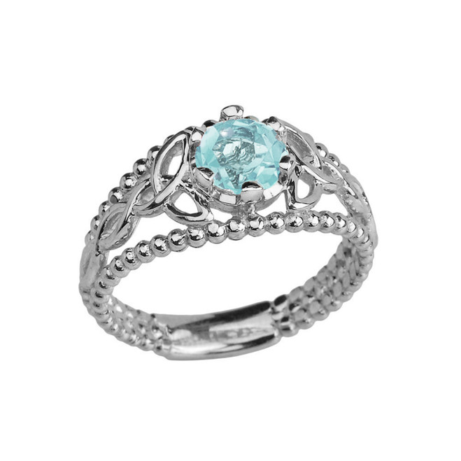 Sterling Silver Lab Created Aquamarine Beaded Celtic Trinity Knot Engagement/Promise Ring
