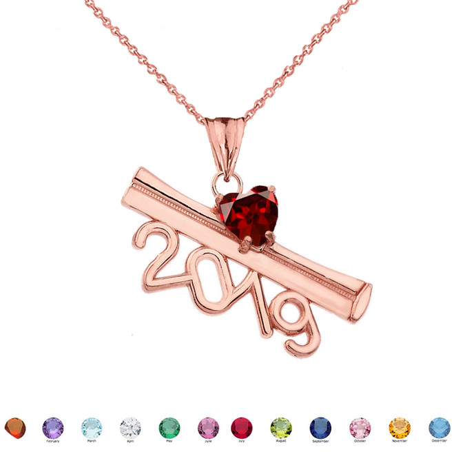 2019 Graduation Diploma Personalized Birthstone CZ Pendant Necklace In Rose Gold