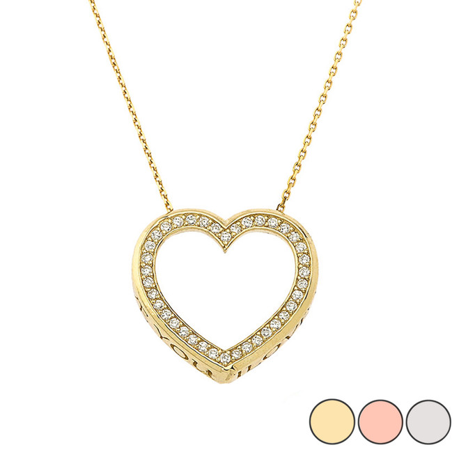 "Valentine's Diamond Heart ""I LOVE YOU"" Necklace in Gold (Yellow/Rose/White) (0.62"")"