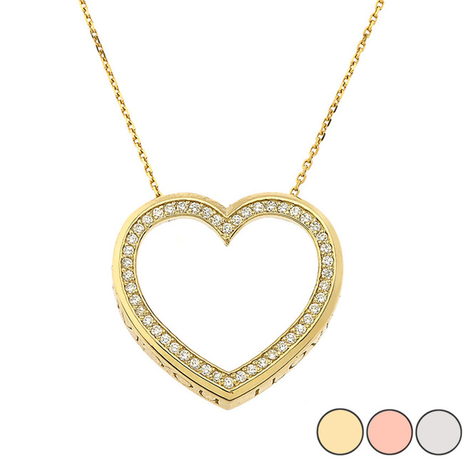 "Valentine's Heart ""I LOVE YOU"" Necklace in Gold (Yellow/Rose/White) (0.75"")"
