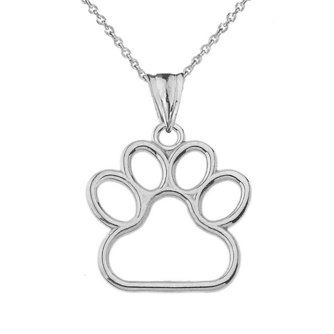 Dainty Dog Paw Print Pendant Necklace In Sterling Silver (0.80'')