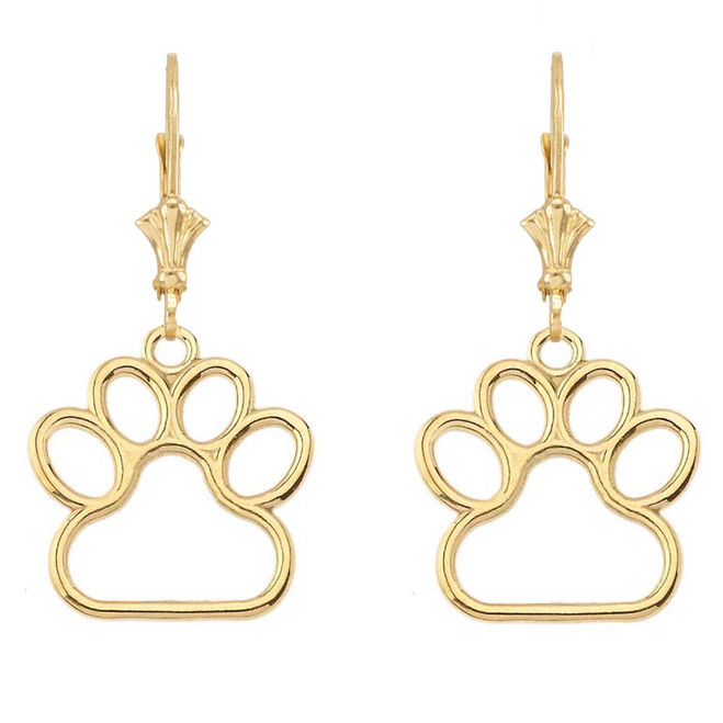 Yellow Gold Dainty Dog Paw Print LeverBack Earring (Medium)