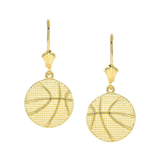 Basketball Leverback Earrings in Yellow Gold