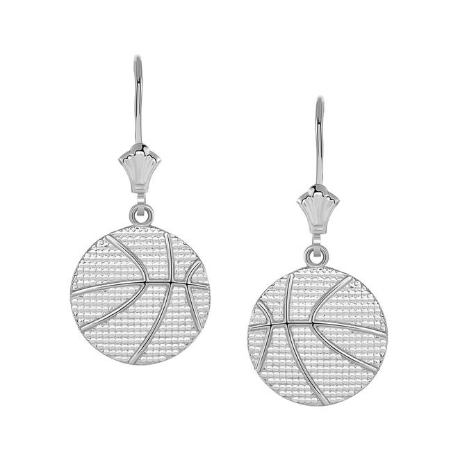 Basketball Leverback Earrings in 14k White Gold