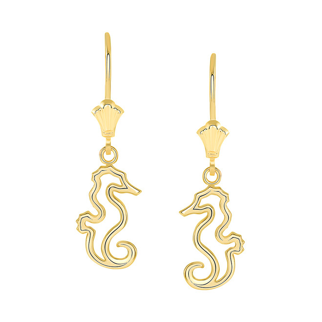 Seahorse Leverback Earrings in Yellow Gold