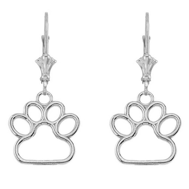 Dainty Dog Paw Print LeverBack Earring In Sterling Silver (Small)