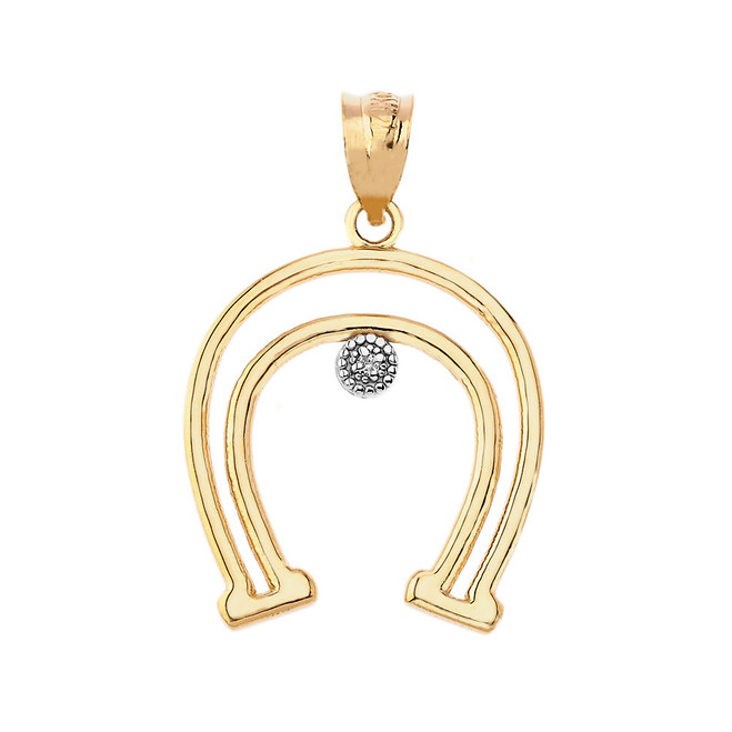 Diamond Outline Horseshoe Pendant Necklace in Gold (Yellow/ Rose/White)