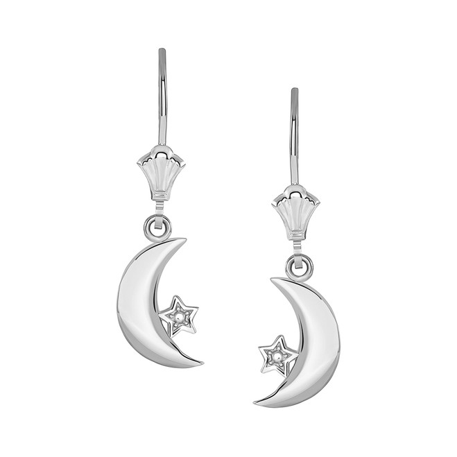 Crescent Moon and Star Leverback Earrings in 14K White Gold