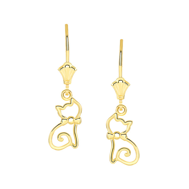Openworks Cat Leverback Earrings in Yellow Gold