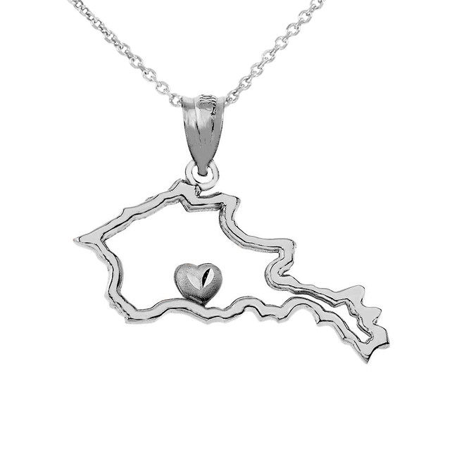 Outline Armenia Map Pendant Necklace in Sterling Silver