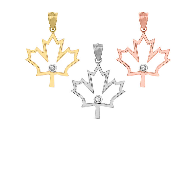 Diamond Outline Canadian Maple Leaf Pendant Necklace in Gold (Yellow/ Rose/White)