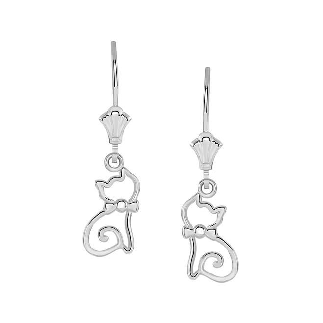 Openworks Cat Leverback Earrings in Sterling Silver