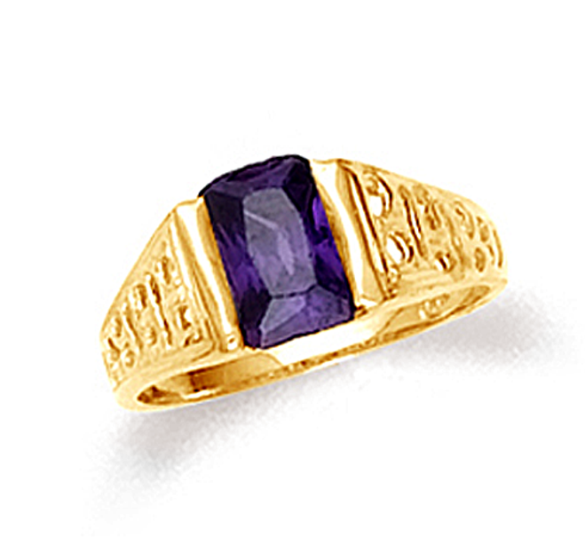 10k or 14k yellow gold baby ring with amethyst center stone.