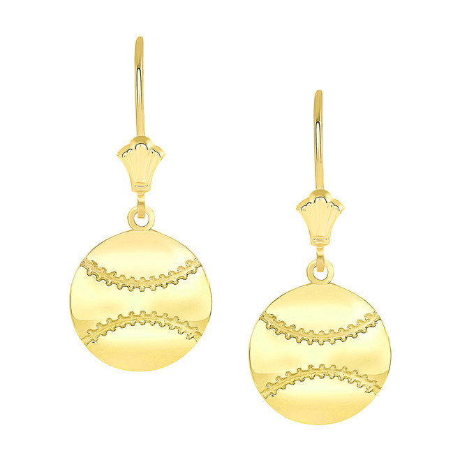 Polished Baseball Sports Leverback Earrings in Yellow Gold