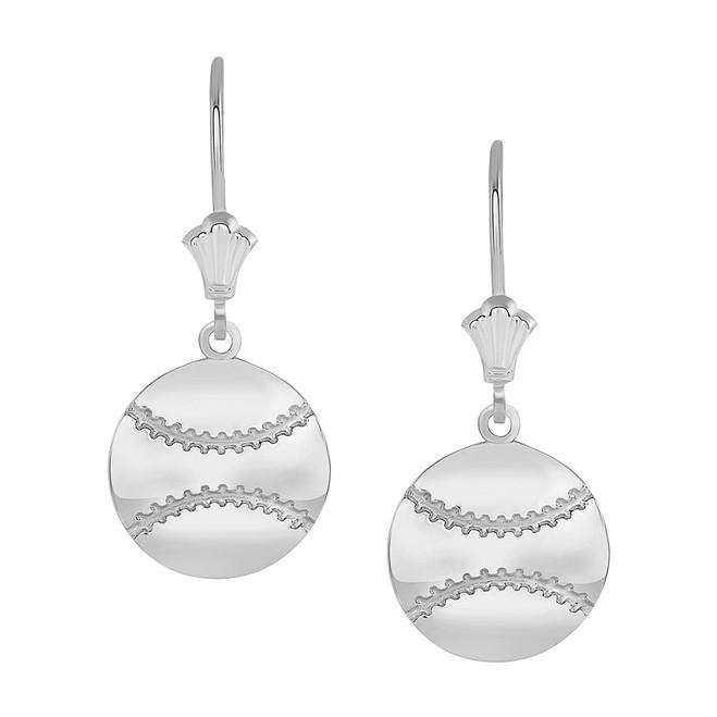 Polished Baseball Sports Leverback Earrings in Sterling Silver