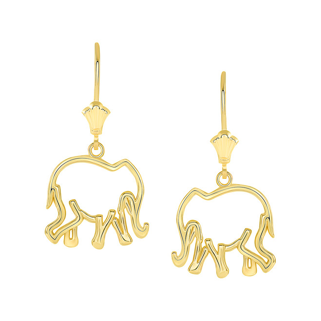 Polished Openworks Elephant Leverback Earrings in Yellow Gold