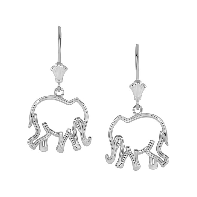 Polished Openworks Elephant Leverback Earrings in Sterling Silver