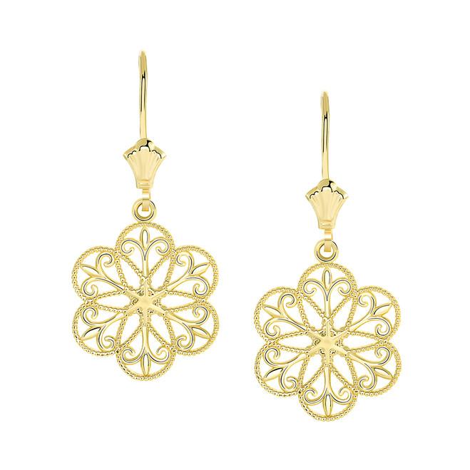 Milgrain Filigree Flower Leverback Earrings in Yellow Gold