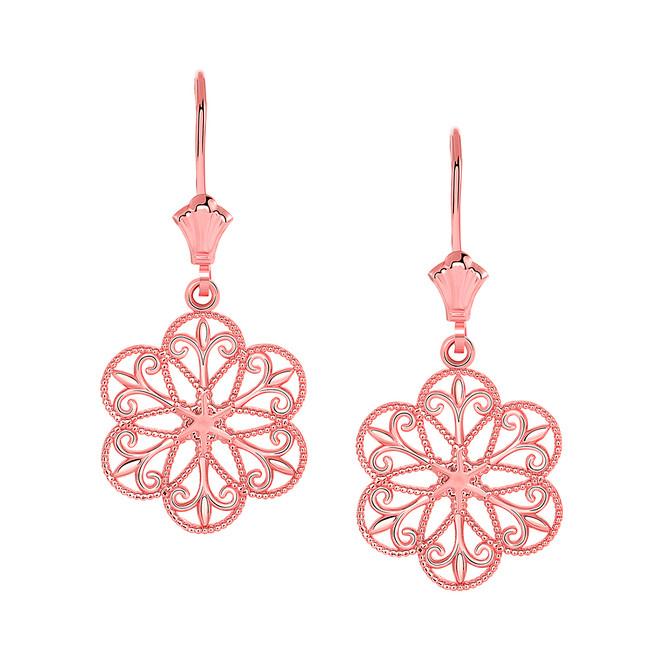 Milgrain Filigree Flower Leverback Earrings in 14K Rose Gold