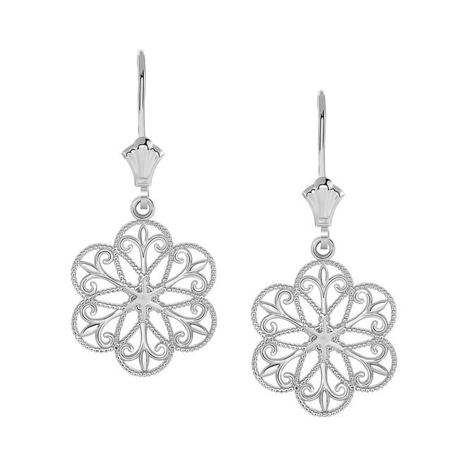 Milgrain Filigree Flower Leverback Earrings in 14K White Gold