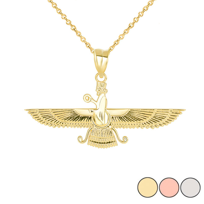 Persian God Faravahar Pendant Necklace in Gold (Yellow/ Rose/White)
