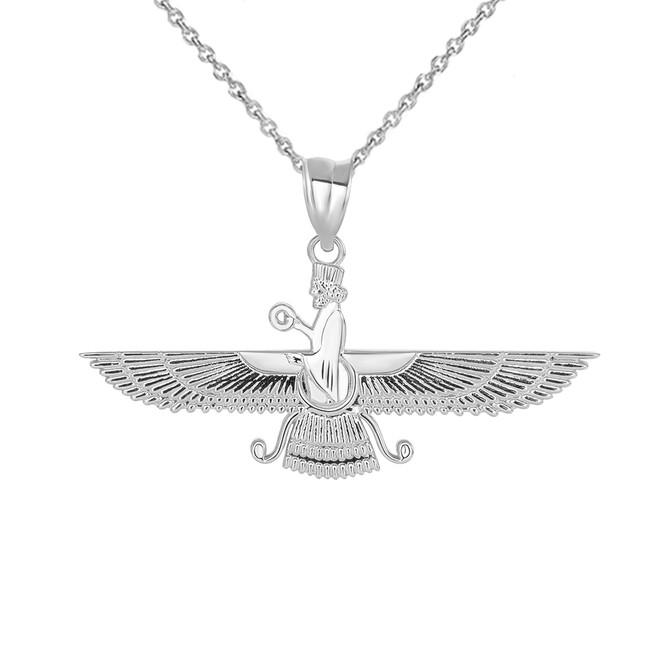 Persian God Faravahar Pendant Necklace in Sterling Silver
