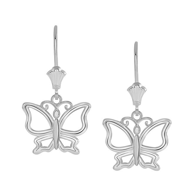 Butterfly Leverback Earrings in 14K White Gold
