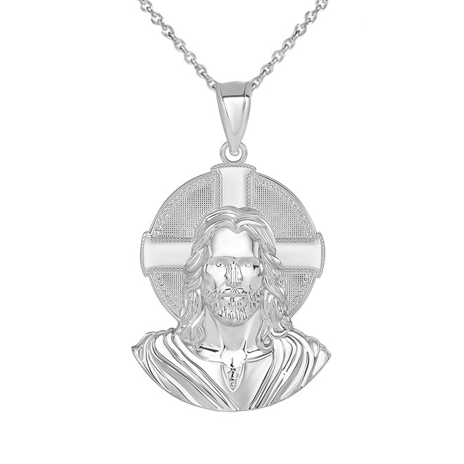 Jesus Solid Halo Small Pendant Necklace in Sterling Silver (1.20 in)