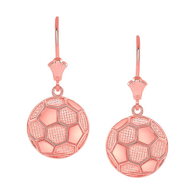 Soccer Ball Leverback Earrings in 14K Rose Gold