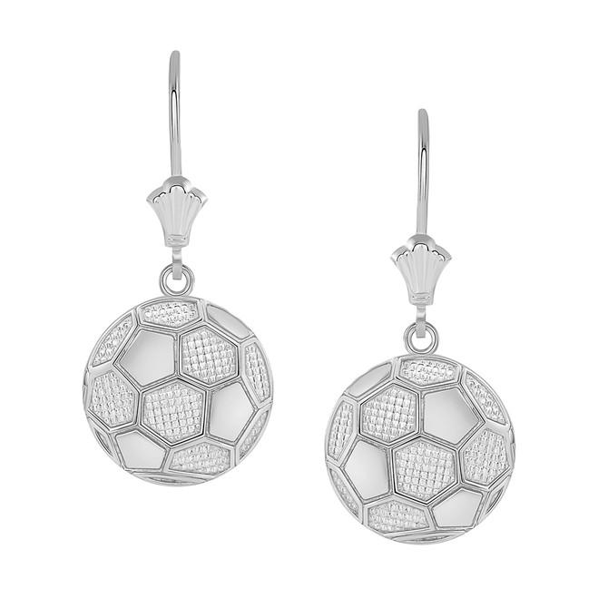 Soccer Ball Leverback Earrings in 14K White Gold