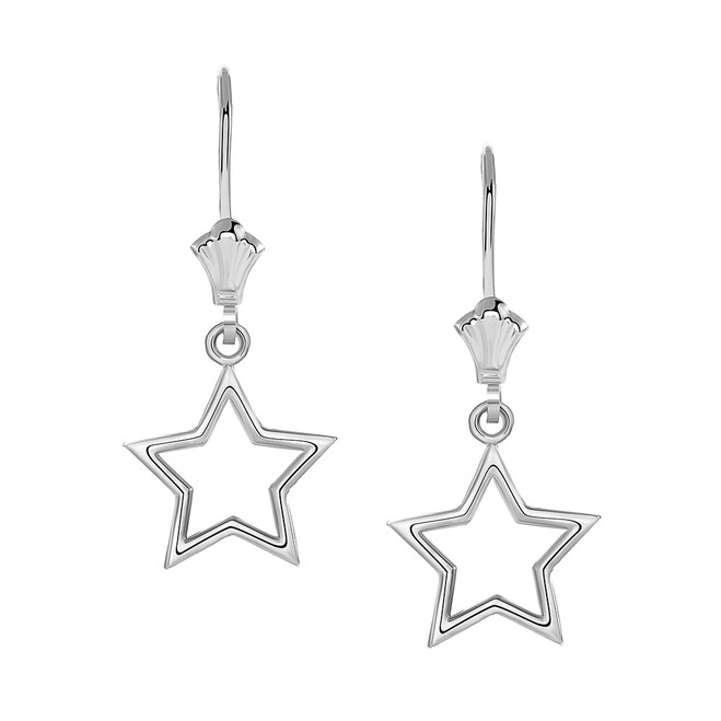 Polished Star Leverback Earrings in 14K White Gold