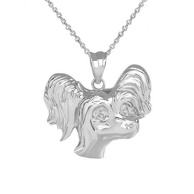 Poodle Head Pendant Necklace in Sterling Silver
