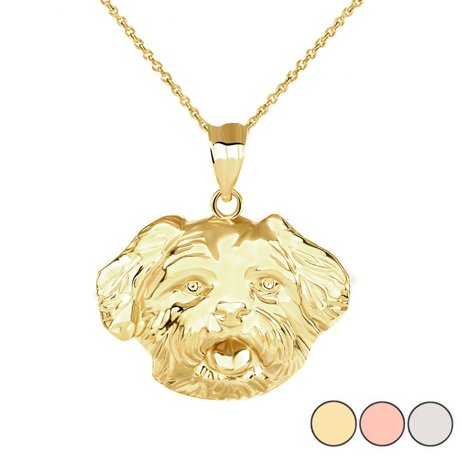 Maltese Dog Head Pendant Necklace in Gold (Yellow/ Rose/White)