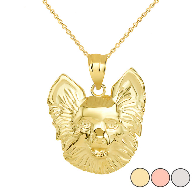 Pomeranian Dog Head Pendant Necklace in Gold (Yellow/ Rose/White)