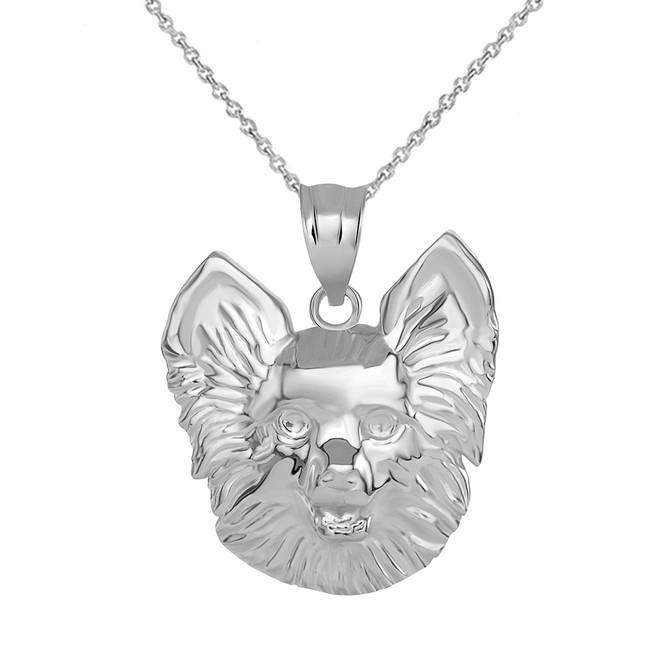 Pomeranian Dog Head Pendant Necklace in Sterling Silver