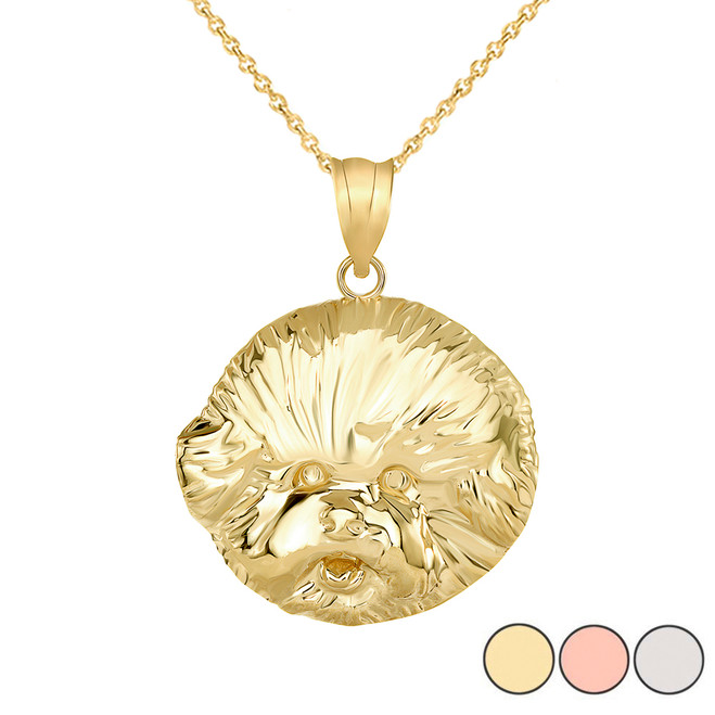 Bichon Frise Dog Head Pendant Necklace in Gold (Yellow/ Rose/White)